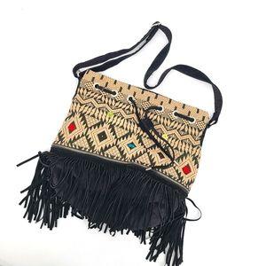 UO Ecote Boho Fringe Embroidered Crossbody Bag